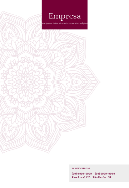 Papel Timbrado Roxo com Mandala para Empresas de Marketing Frente