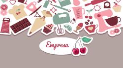 Marrom Ilustrado Cereja Bolos & Doces para Confeitaria