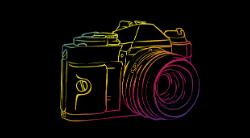 Preto e Colorido com Câmera Fotográfica