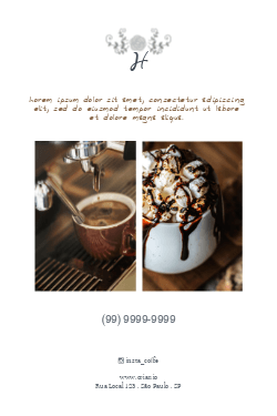 Branco e Marrom Sofisticado para Café Colonial