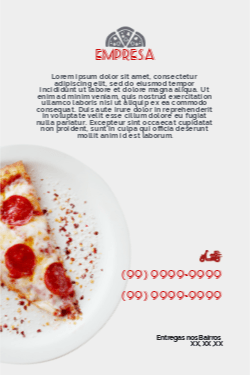 Branco e Vermelho Moderno para Pizzaria