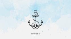 Azul Claro Aquarela Marítimo com Âncora