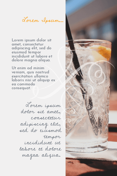 Flyer Branco e Laranja com Drinks para Bares & Happy Hour Verso