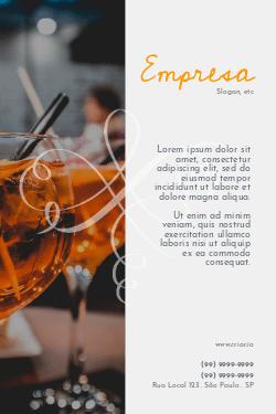 Branco e Laranja com Drinks para Bares & Happy Hour
